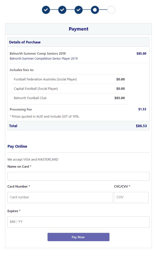 summer rego - payment